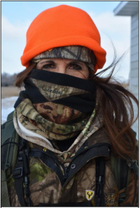 Keeping your head warm is paramount. Kim Cahalan chose a face cover and multiple layers as her keep-warm strategy.