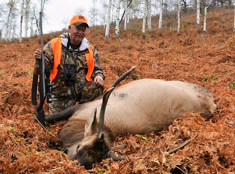 The author's bull went just 50 yards after a through the shoulder shot from the American and the Hornady payload that completely passed through.