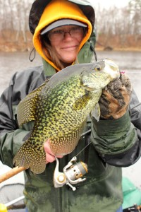 No matter wind, rain or cold, when Mary Savage and Matt Straw combine for a day of crappie fishing in northern climates, it will be a good day to bring a camera!