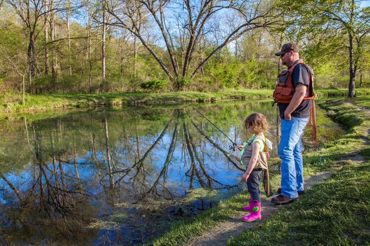 Missouri Parks offer quiet time for fishing and teaching kids how to share in the fun of the outdoors. Missouri DNR photo