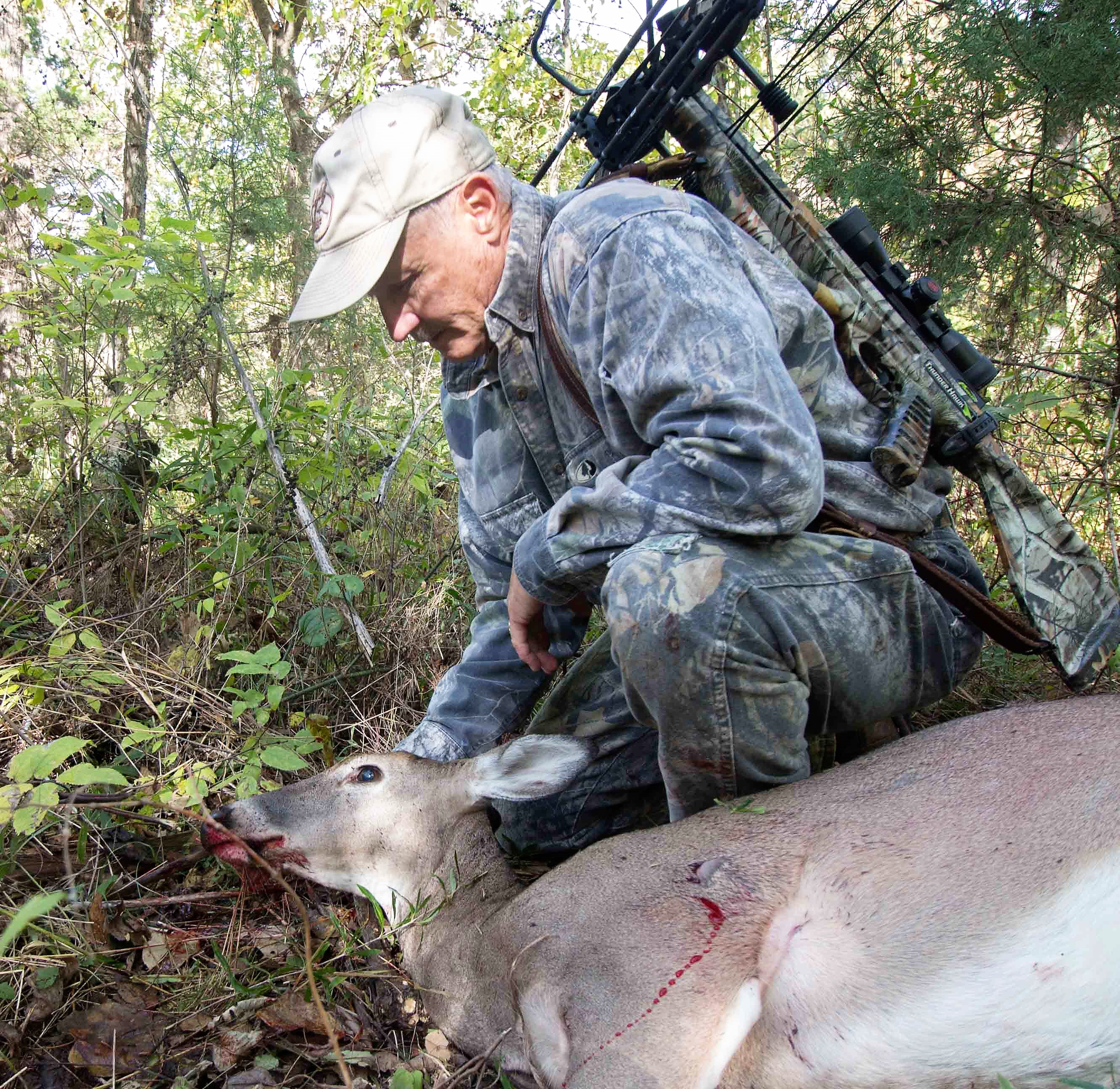 At under 40 yards, crossbows are a deadly and precision hunting tool that eliminates runaway waste, I donated this deer to the needy Food Kitchen.  Jim Low Photo