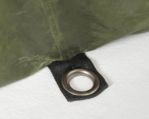 There are convenient grommet locations for stake hold downs with the CLAM 1660 Mag Tent Screen.