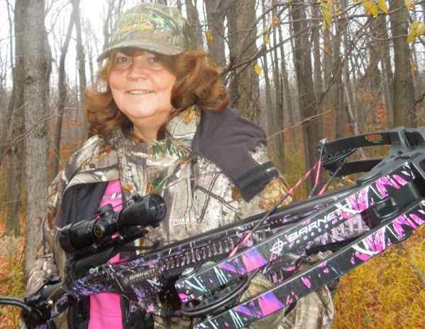 Beverly Ruhland of Wales, New York, enjoys hunting with her brand new crossbow, and she has enjoyed several big deer experiences during the last two weeks of early archery season – that's when crossbow season opens in New York.  Forrest Fisher Photo