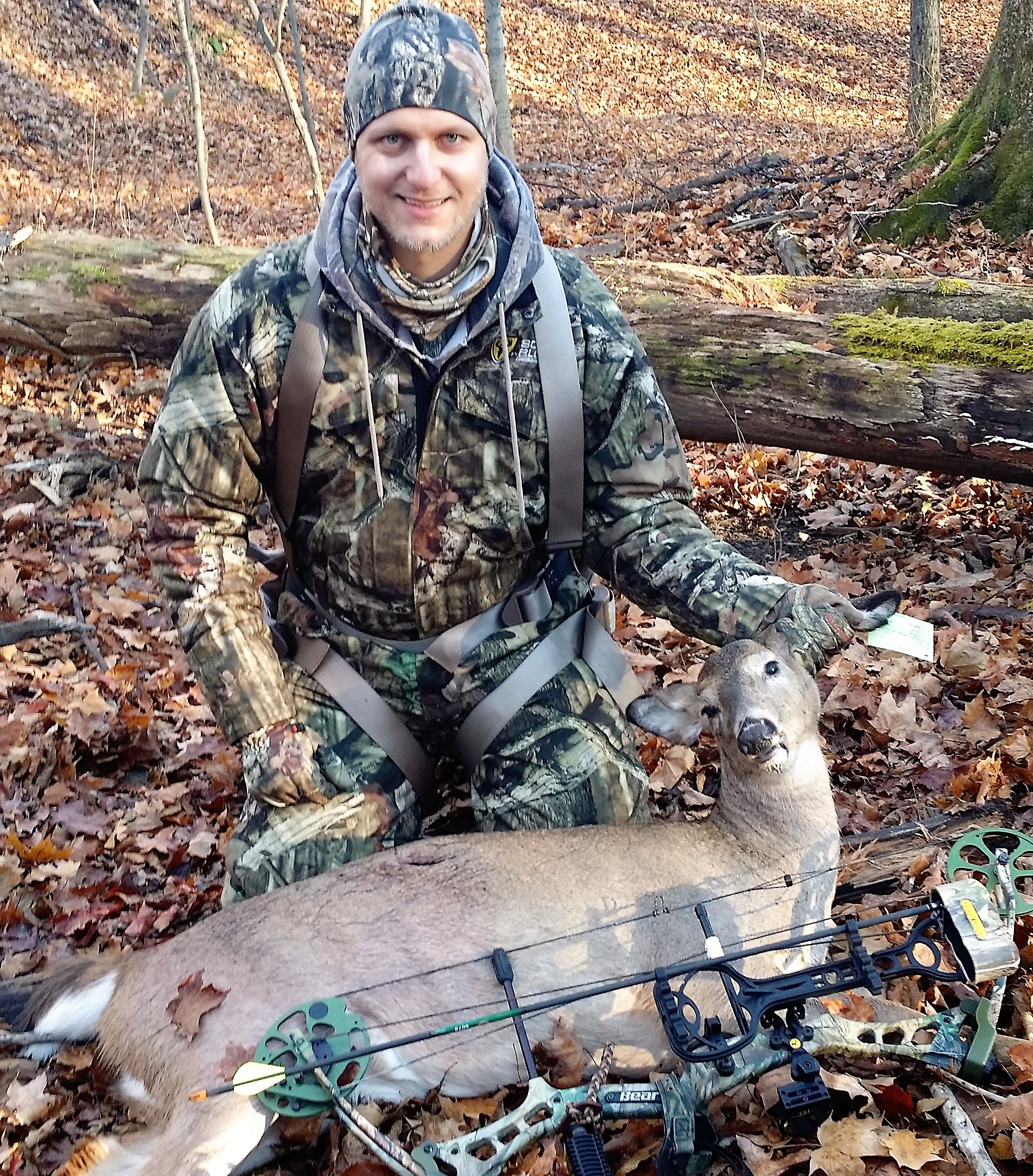 In several areas of New York, hunters are requested to help control the doe populations, as non-resident hunter, Jeff Liebler did here with his first ever deer from New York.  Forrest Fisher Photo