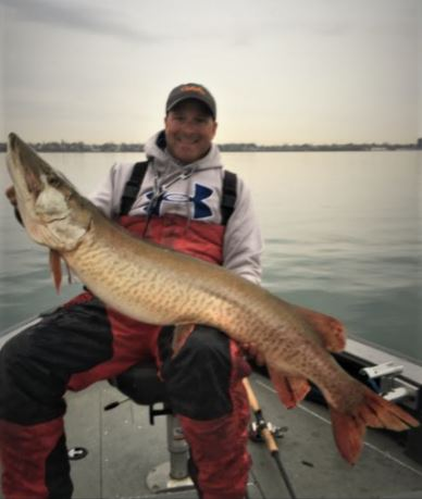 Capt. Chris Cinelli of Grand Island shows off a big musky he caught Wednesday morning (Nov. 16).