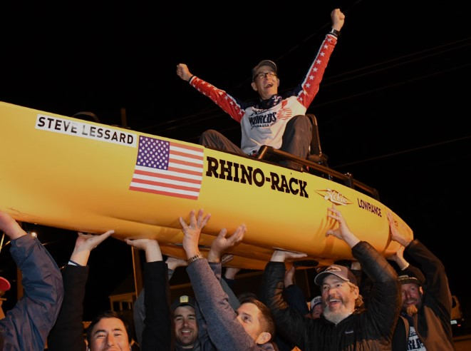 Steve Lessard of Team USA is lifted in celebration of his win in the 6th Annual Hobie Fishing World Championship held in Lafourche Parish, Louisiana, where competitors from 17 countries vied for the top honor.