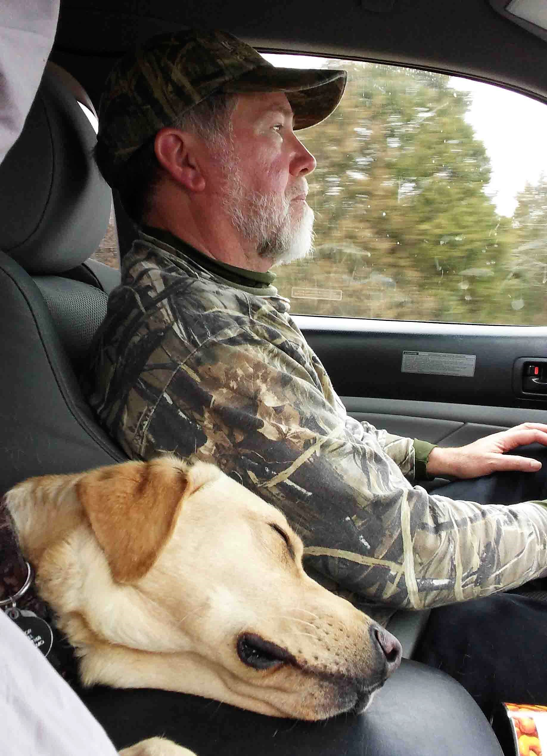 Bill's dog Hector had a great time retrieving sticks while we worked with decoys, and he slept like the dead during the drive home.