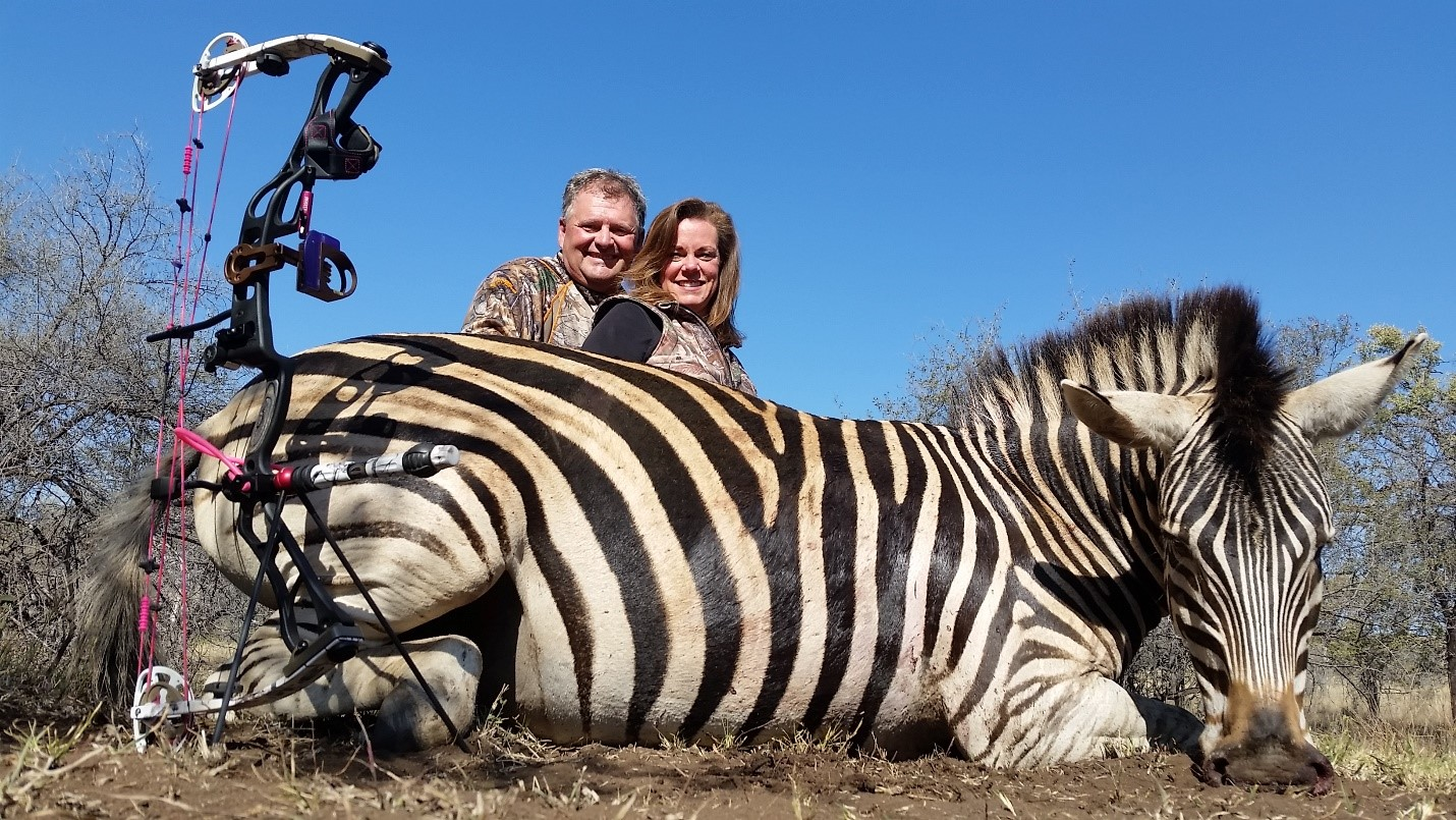 Jack Coad and Anne O'Leary teamed up with Numzaan Safari to harvest this beautiful Zebra about 200 kilometers northwest of Johannesburg, South Africa.