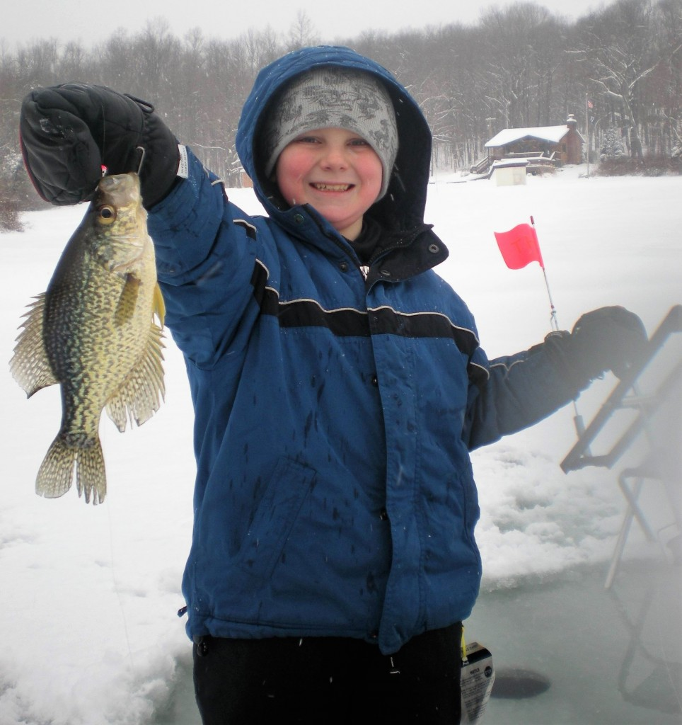 There is nothing quite like taking a youngster out to ice fish when the fish cooperate.  Be prepared for big smiles!