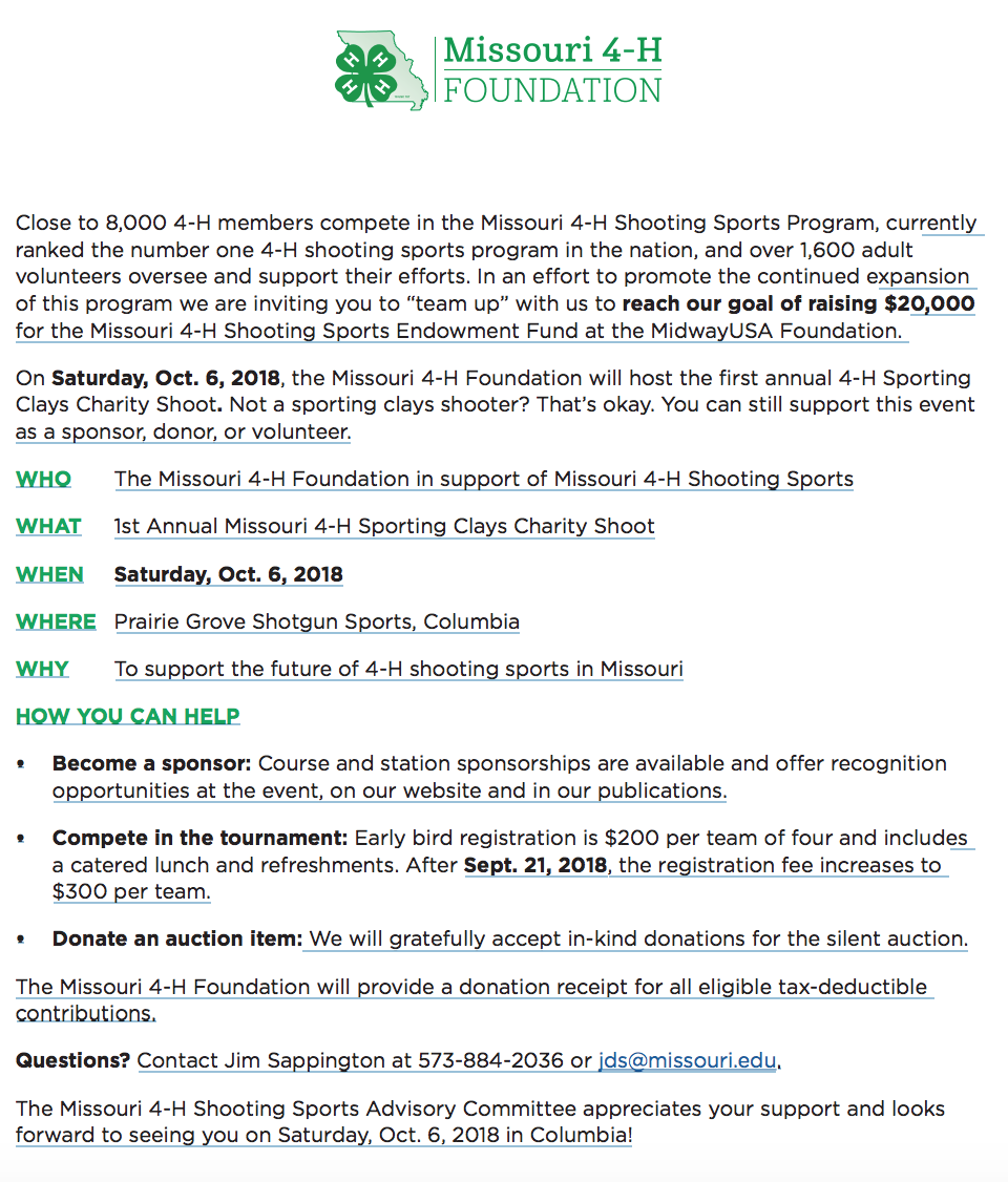 4-H Shooting Sports to host 1st annual Sporting Clays Charity Shoot