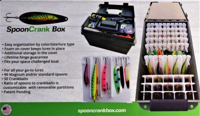 """The """"SpoonCrank"""" Tackle Box provides Tangle-free Lure Access"""